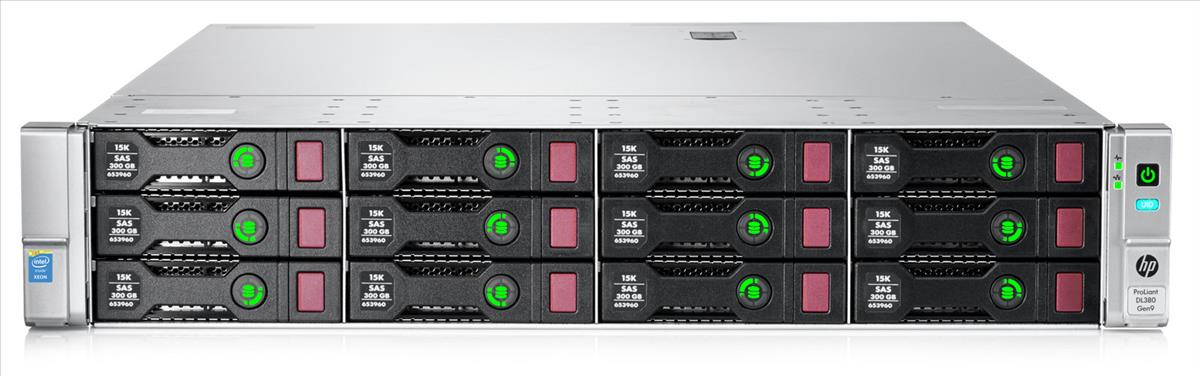 HPE DL380 G9 E5-2660V4 (2/2), 64GB (4/24), SAS/SATA-2.5 (0/8), P44AR, SATA DVD-RW, RACK,3Y, 852432-B21